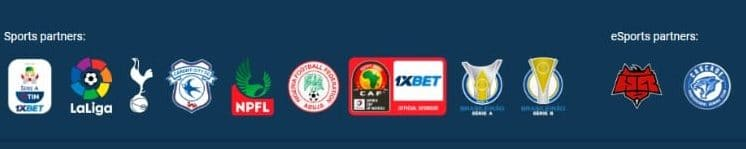 screenshot of sports partners at 1xbet Casino