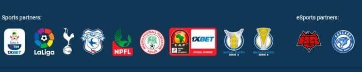 screenshot of sports partners at 1xbet Casino