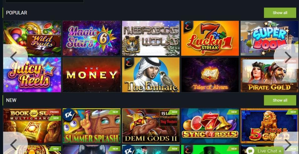 screenshot of the slot game lobby at 1xbet Casino