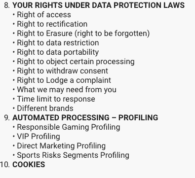 Screenshot of LeoVegas privacy policy