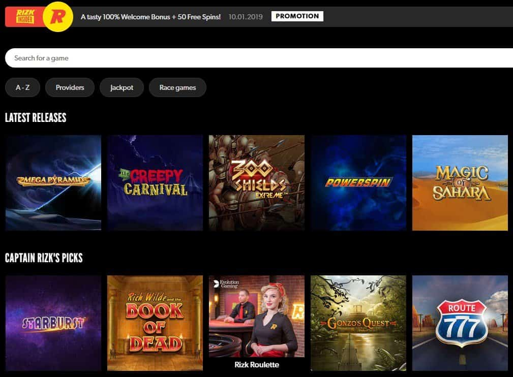 Screenshot of the different video slots at Rizk.