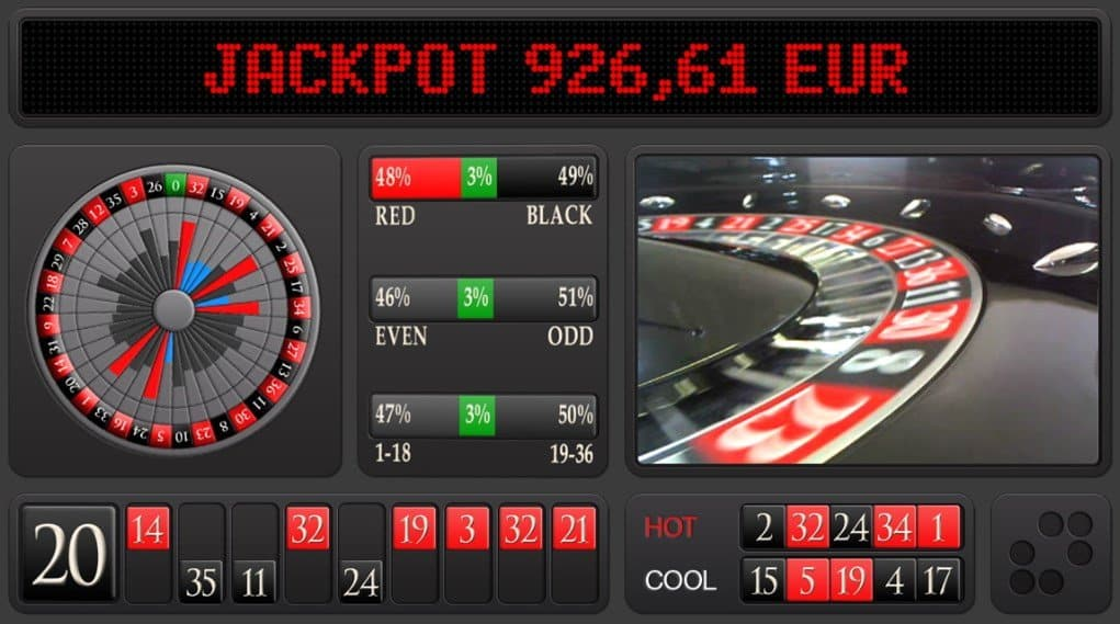 Screenshot of a table of roulette jackpot.