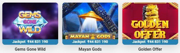 Screenshot of local progressive online jackpots.