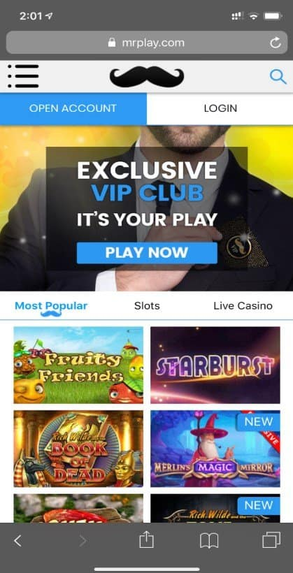 Screenshot of Mr Play mobile site
