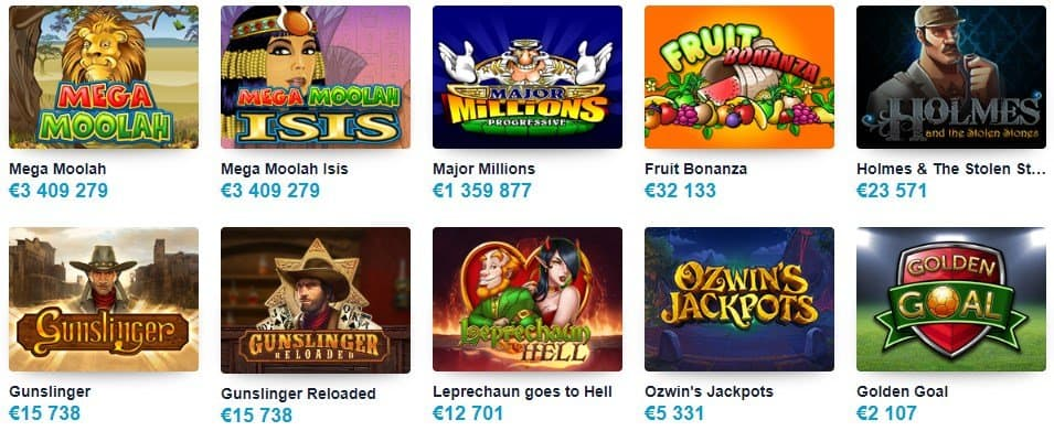 screenshot of the slot game lobby at multilotto Casino