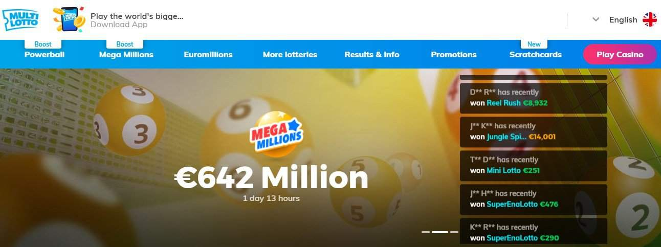 Screenshot of Multilotto Casino's homepage