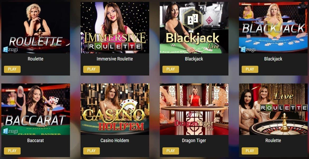 screenshot of the live casino games at showlion