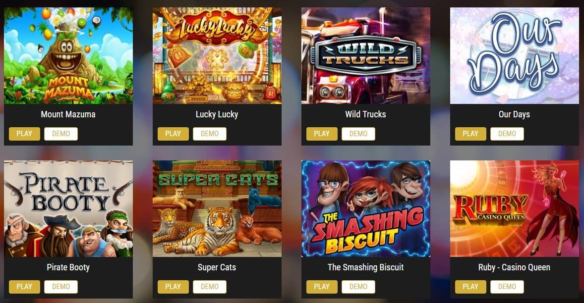 screenshot of the slot game lobby at showlion Casino