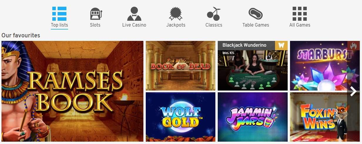 Overview of casino games at Wunderino