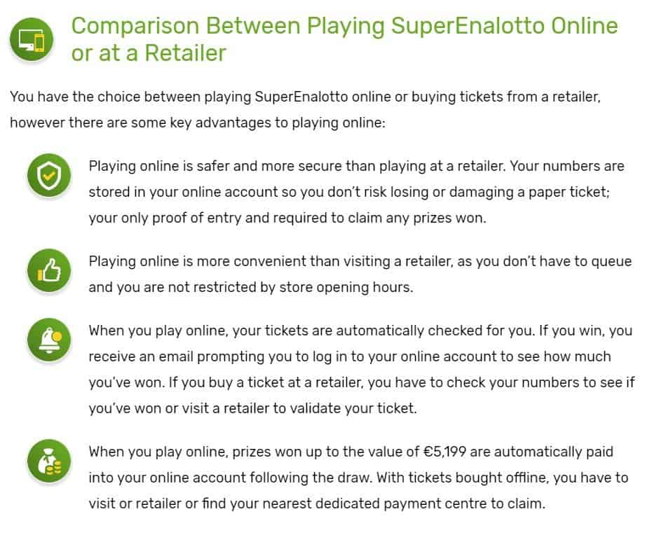 Advantages of playing Superenalotto from the internet compared to offline.