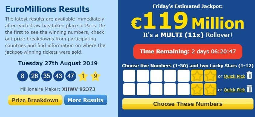 Upcoming jackpot of Euromillions