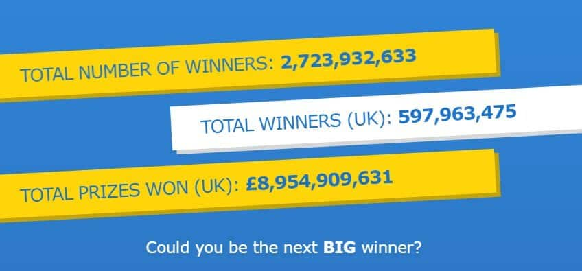 Screenshot of Euromillion winners