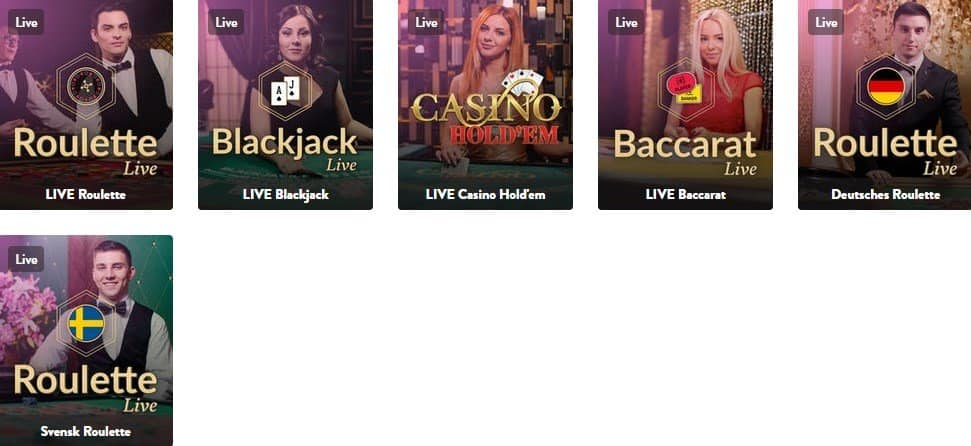 Small selection of live casino games.