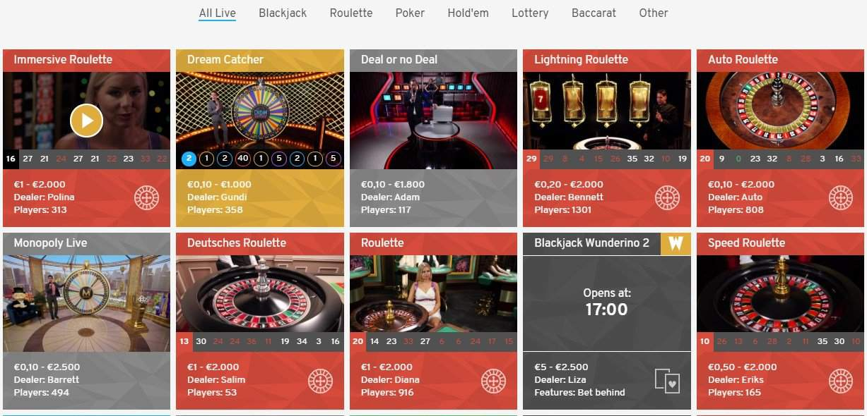 A neat selection of live casino games