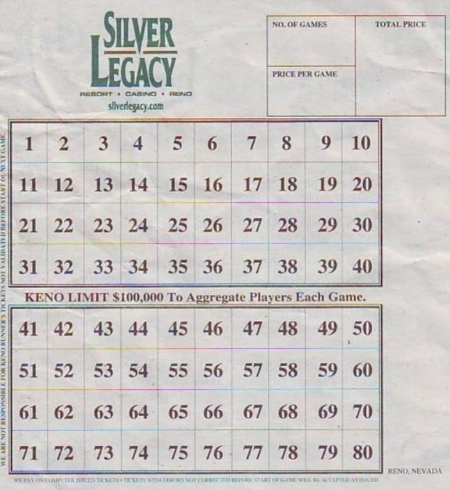 Picture of a keno lottery slip