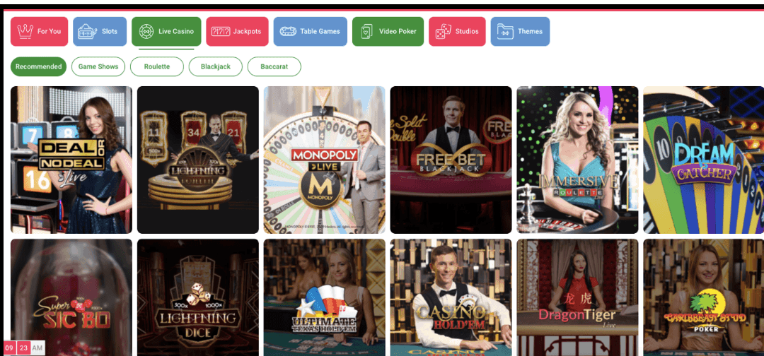 screenshot of the live casino games at omnia
