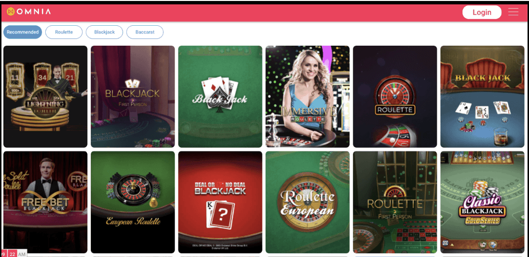 screenshot of the table and poker games at omnia