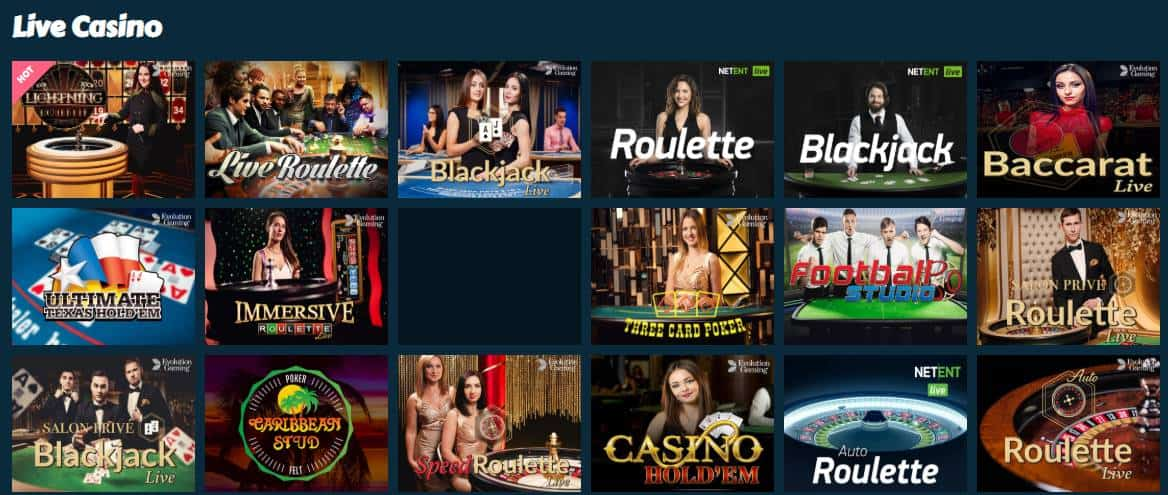 screenshot of the live casino game lobby at mychance Casino