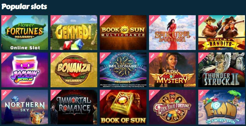 screenshot of the video slot game lobby at mychance Casino