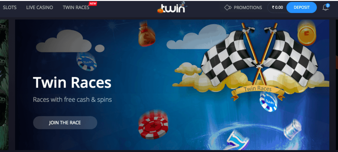screenshot of Twin Casino's homepage