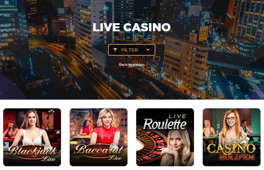 screenshot of the live casino games at sir jackpot