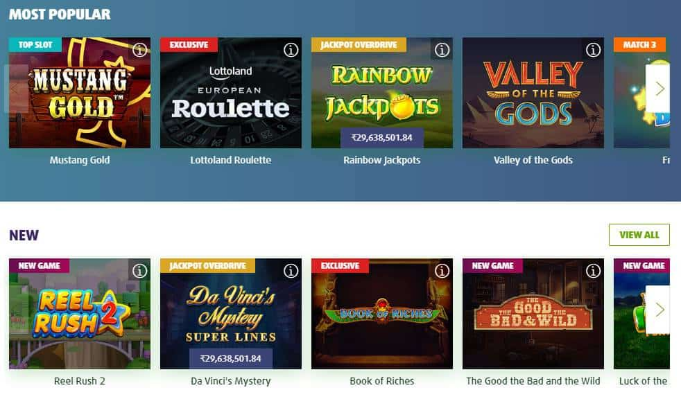 screenshot of the games lobby at lottoland Casino