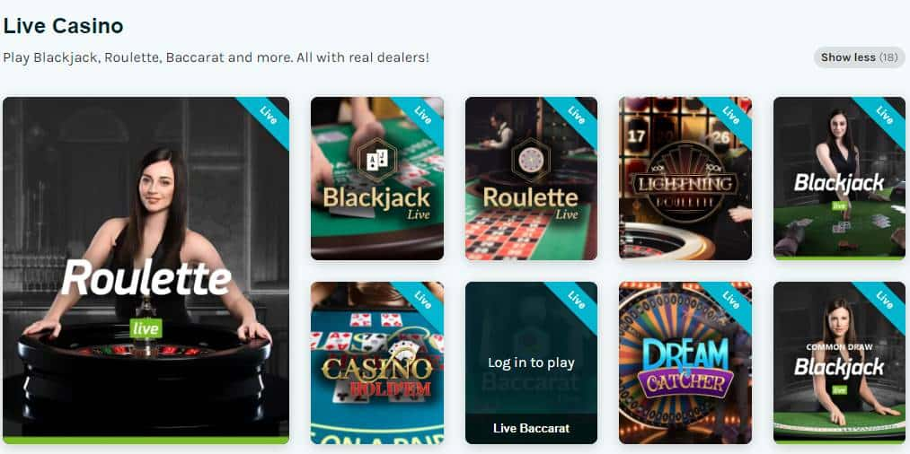 screenshot of the live casino games at lucky days