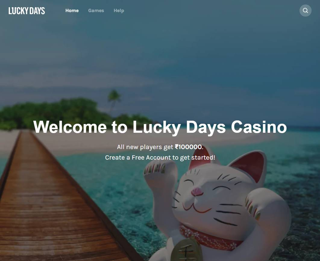 screenshot of Lucky Days Casino's homepage