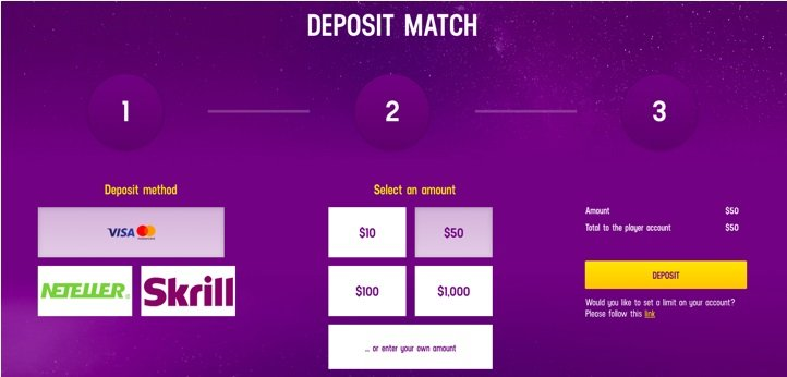 screenshot of the deposit methods at lucky Casino