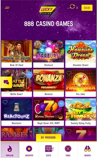 screenshot of mobile site at lucky Casino