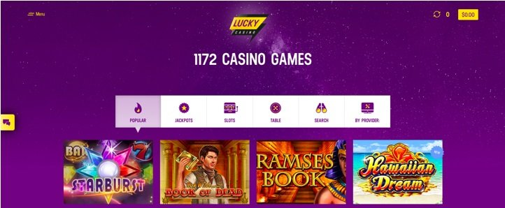 screenshot of Lucky Casino's homepage