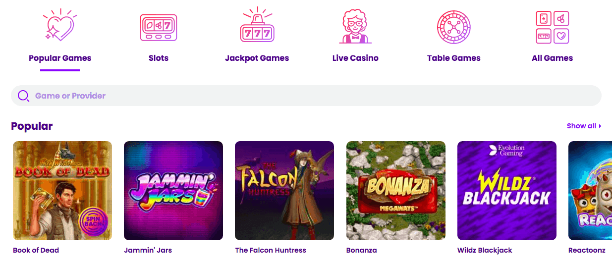 screenshot of the casino games at wildz