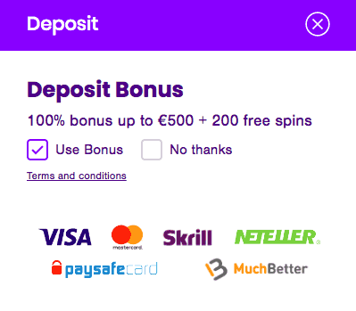 screenshot of the deposit methods at wildz Casino