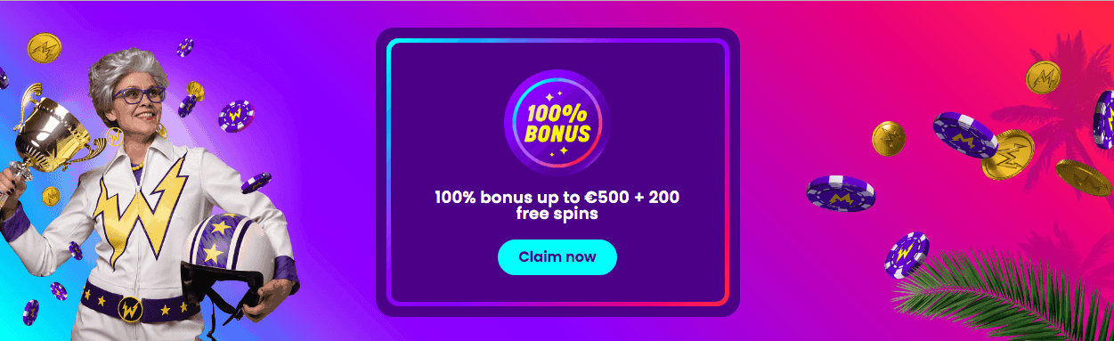 screenshot of the welcome bonus at Wildz Casino