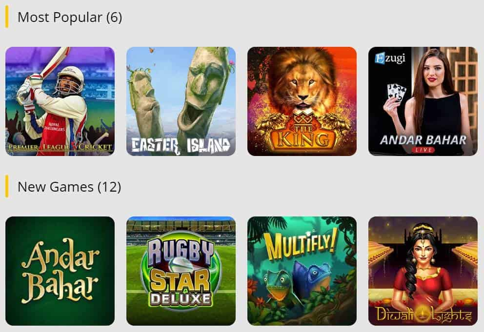 Popular and new casino games at 10CRIC