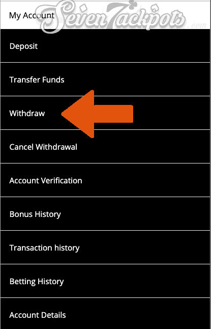 screenshot of 10CRIC showing account menu withdrawal section