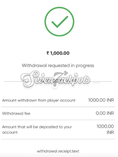 screenshot of 10CRIC withdrawal receipt