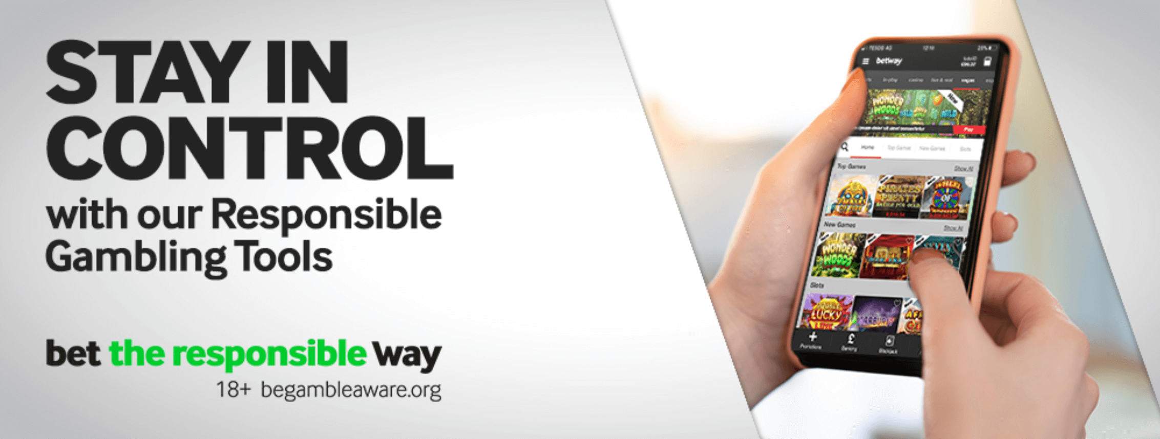 Screenshot of the Betway responsible gambling tools banner