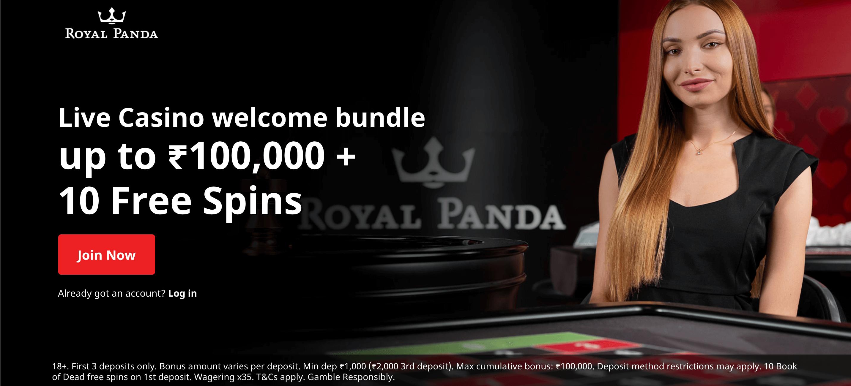 screenshot of current Royal Panda welcome offer