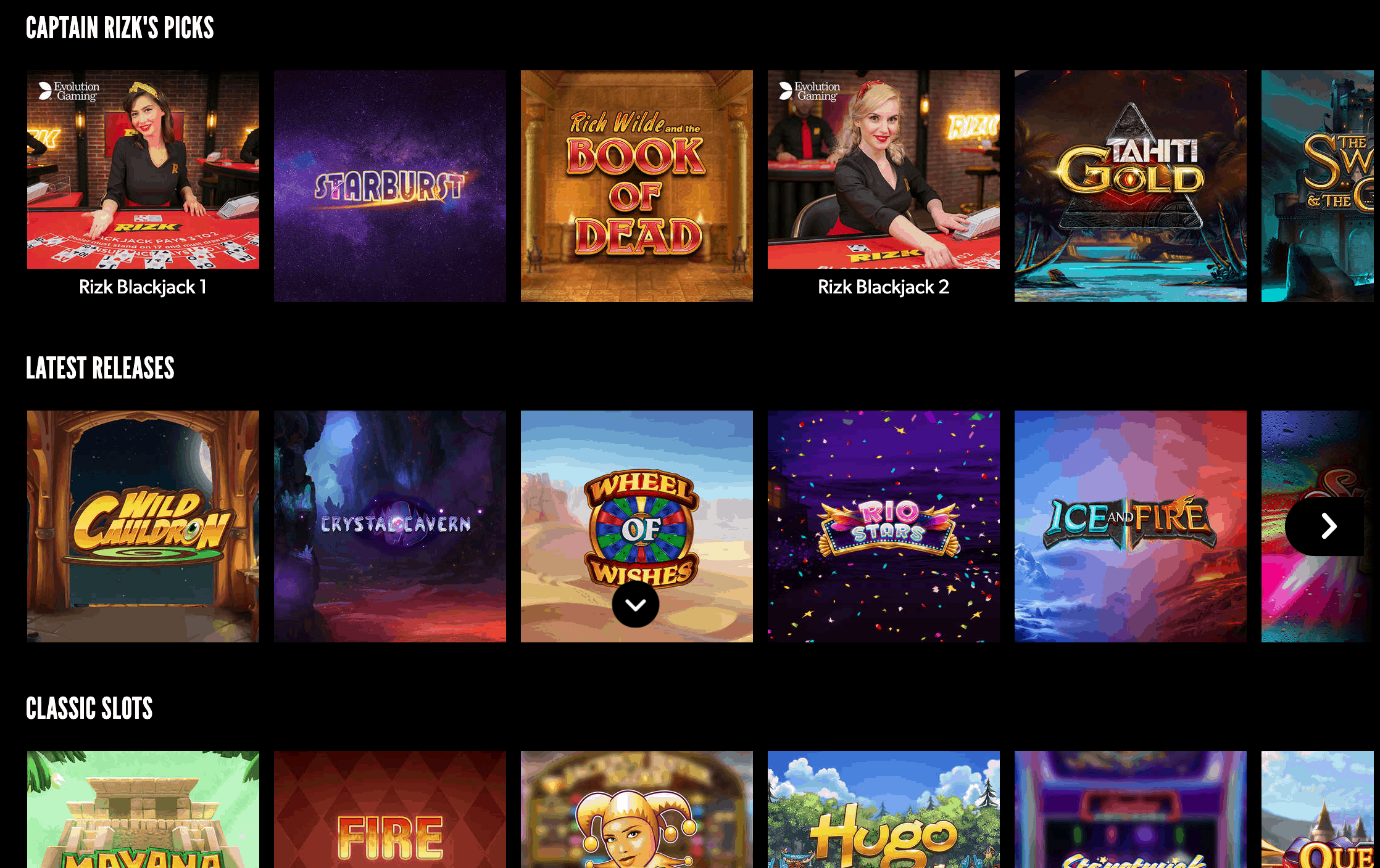screenshot of the slot game lobby at Rizk