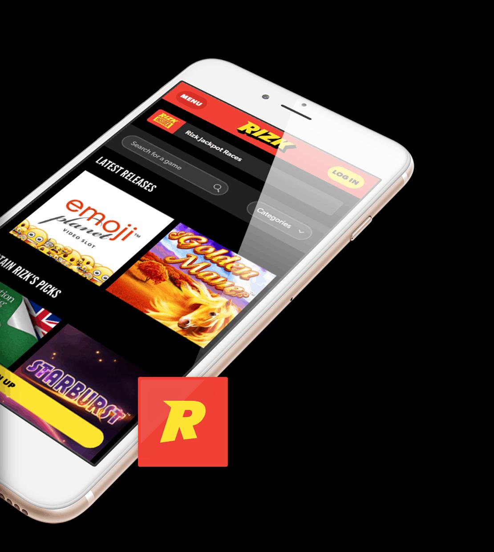 screenshot of mobile app at Rizk Casino