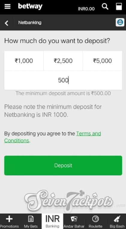Screenshot of deposit step 3, entering deposit amount