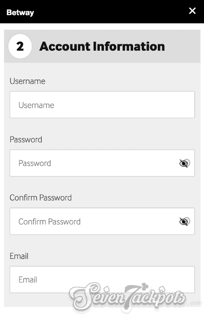 Screenshot of registration process step 3, username and password