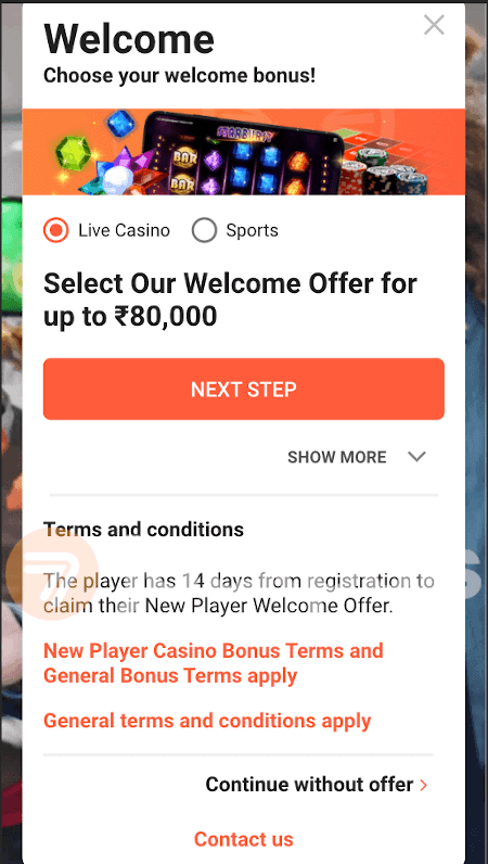 screenshot of step 3 registration