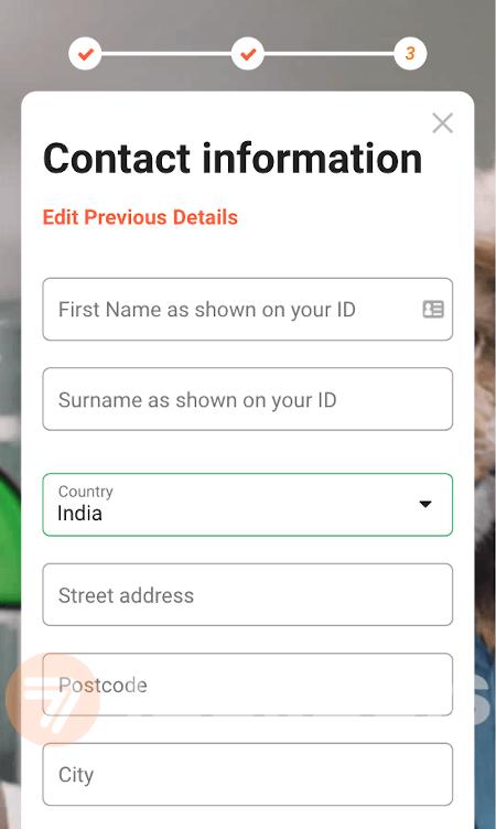 screenshot of step 5.1 registration