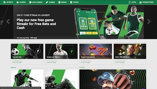 screenshot of unibet Casino's homepage
