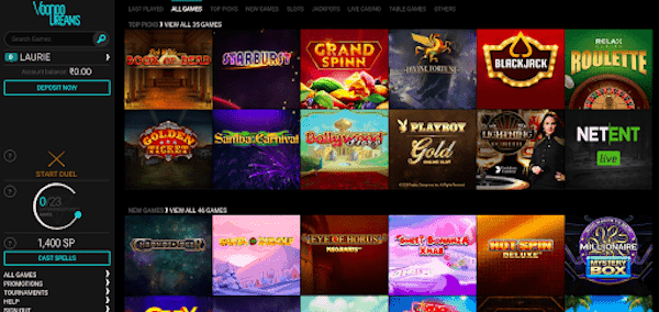 screenshot of voodoodreams Casino's homepage