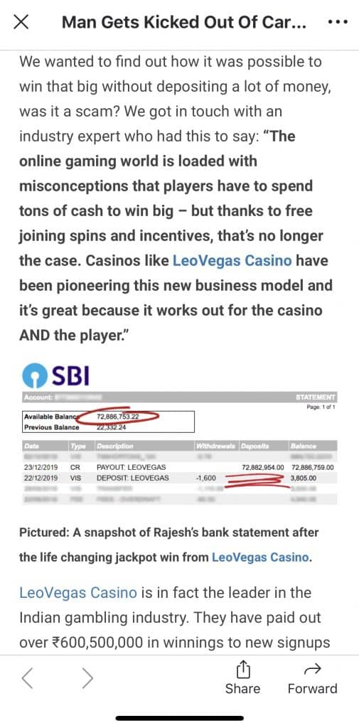 screenshot of LeoVegas Fake News
