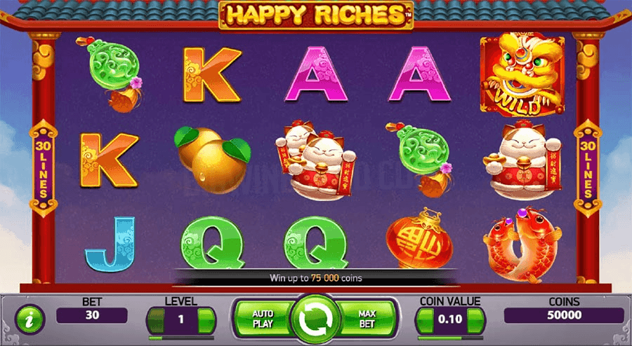 Screenshot of NetEnt's Happy Riches Slot game
