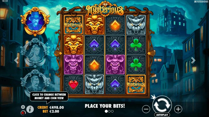 Screenshot of mysterious slot machine game